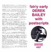 Derek Bailey - Fairy Early With Postscripts